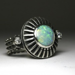 Industrial Sterling Silver Diamond & Opal Disc Ring hand made