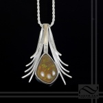 hand made sterling silver pendant with 10 carat Ethiopian Opal