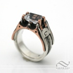 Steampunk Topaz in Copper and Sterling Silver