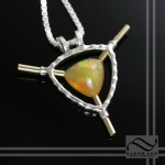 Sterling and gold hand made opal pendant