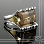 Hugh smokey quartz cocktail ring in sterling silver and 18k yellow gold MOdern