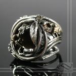 Mixed metal steampunk ring fire obsidian grunge jewelry