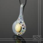 high contrast oxidized opal pendant with flush set birthstones
