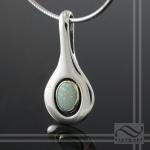 solid Australian opal pendant simple and modern 14k bezel