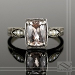 Morganite and Pearl in 14k White gold engagement ring