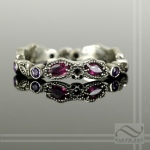 Ruby and Amethyst Vintage Styled Leaf Ring - 14k White Gold