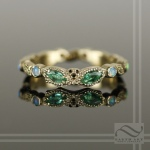 The Masquerade Ball - 14k Yellow Gold with Emerald and Opal