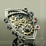 steampunk statement ring with working gears