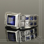 Sterling silver tardis ring with sapphire and CZ