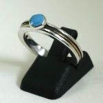 Sterling and Copper Inlay with Turquoise solitaire engagement Ring