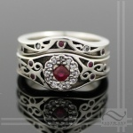 Ruby and Diamond 14k white gold wedding set