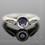 hand made tanzanite and Diamond Engagement ring