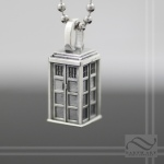 Solid sterling silver tardis Pendant