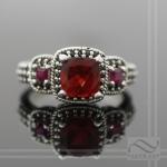 Red Oregon Sunstone engagement ring