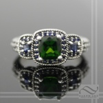 Chrome Diopside & Sapphire Three Stone ring