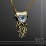 hand made seasonal pendant represent spring time in 14k gold