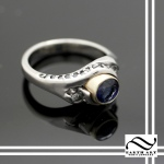 Sapphire and diamond in 14k white gold - Nickel Free
