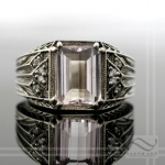 white gold, diamond and morganite vintage style ring