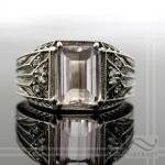 white gold, diamond and morganite vintage style ring