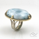 Large Larimar sapphire halo statement ring in 14k gold