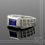 TARDIS Ring Sterling Silver -Lab Sapphire