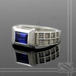 TARDIS Ring Sterling Silver -Lab Sapphire