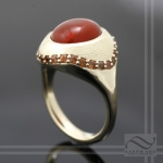 Halo Ring with Red Mexican opal and Orange Sapphire - 14k Chubby Cherib