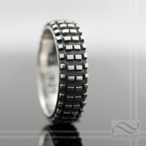Dirt bike classic nobby tire ring sterling silver