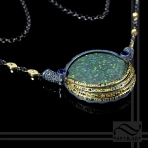 Egyptian inspired eye pendant with opal in sterling and 18k yellow gold Custom