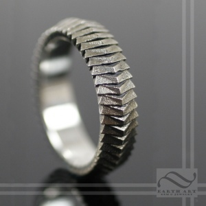 Wedding Scale Armor 14k white gold band