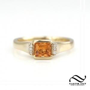 princess cut natural spessartite garnet engagement ring in 14k yellow gold