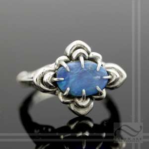 Hand Made Earth Art Victorian Inspired Australian Opal Flower Ring