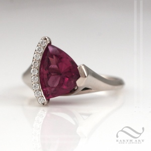 Pink tourmaline trillion ring in 14k white gold