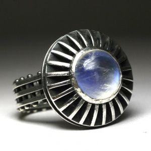 Sterling silver industrial shadowbox Ring Rainbow Moonstone