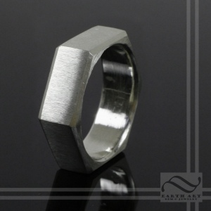 Hand Made sterling silver Hexagon Ring