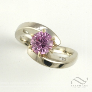 Pink Sapphire bypass ring with diamonds in 14k white gold