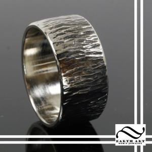 14k Wide gold wedding band with bark texture