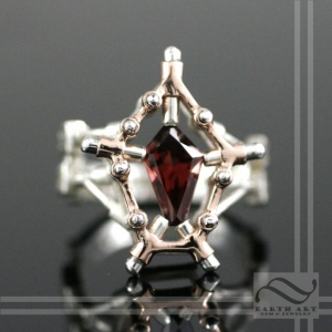 Earth Art Austin Moore Levitation garnet steampunk ring mixed metal 14k rose