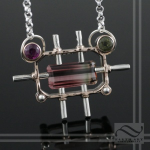 Steampunk inspired Watermelon tourmaline levitation pendant