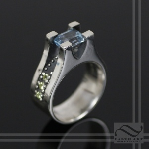 Studded - Blue Topaz in Tension hand crafted sterling silver ring