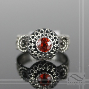 Spessartite Garnet Shadowbox Solitaire hand made in sterling silver with a shado