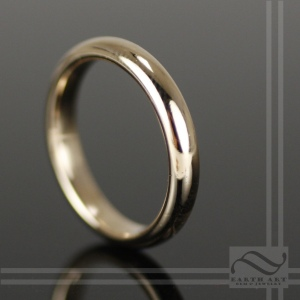Polished hand made mens half round 14k yellow gold wedding band