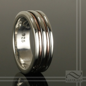 hand made sterling silver ring with copper inlay
