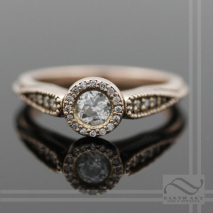 hand made 14k pink gold diamond halo engagement ring