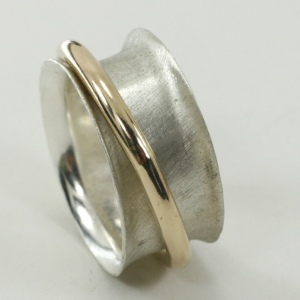 Brushed Silver with Polished 14k gold