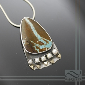 Boulder turquoise and pearl pendant