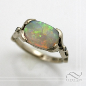 Solid 14k white gold opal ring with diamonds