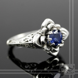 sterling silver Victorian Inspired Sapphire Flower Ring