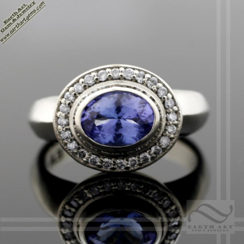Diamond Halo Tanzanite: Tanzanite & Diamond Halo Ring In 14k