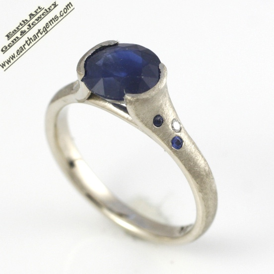 Natural Sapphire Engagement Ring in 14k white